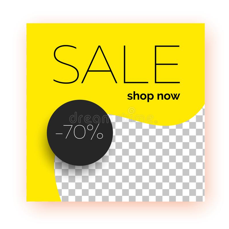 Bannière de vente, calibre pour la promotion sociale de courrier de médias illustration de vecteur