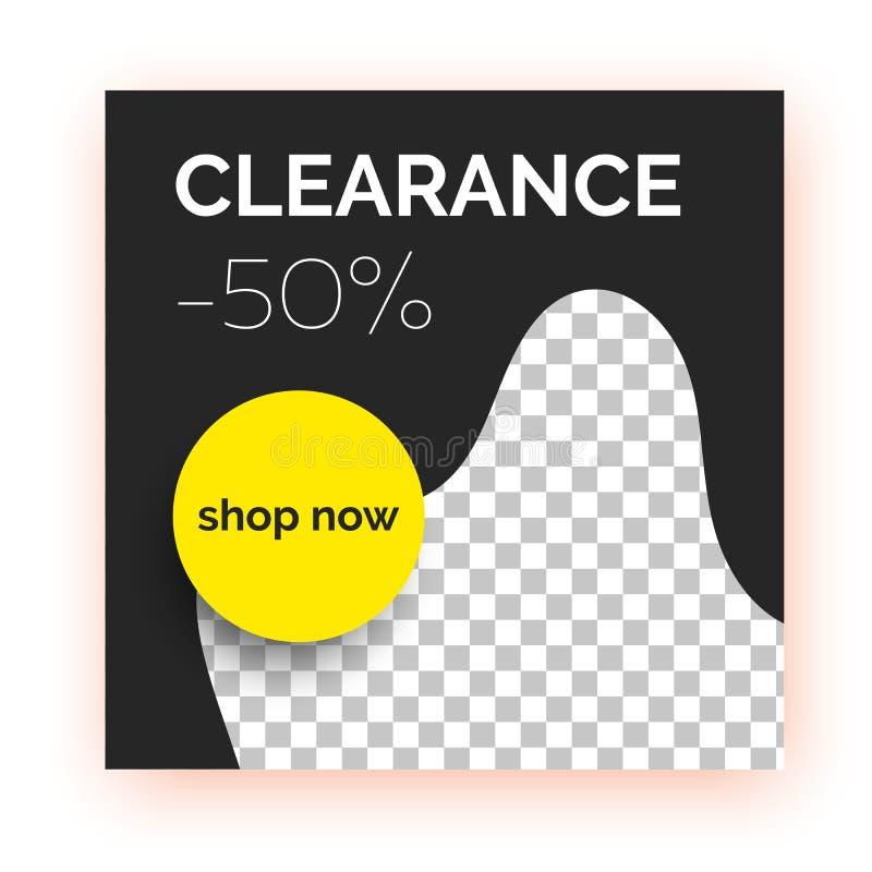 Bannière de vente, calibre pour la promotion sociale de courrier de médias illustration stock