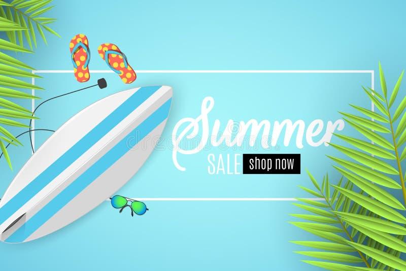 Bannière de vente d'été Cadre blanc avec le texte Planche de surf, lunettes de plage et éponges Style plat de bande dessinée Offr illustration de vecteur