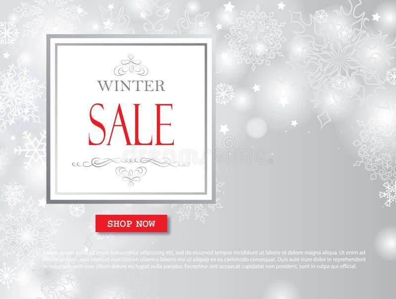 Bannière de vente d'achats d'hiver avec le lettrage Backgro brouillé par neige illustration de vecteur