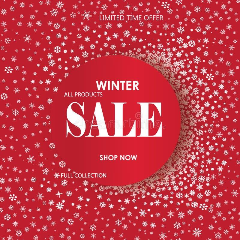 Bannière de vente d'achats d'hiver avec le lettrage Fond de cadre de neige illustration libre de droits