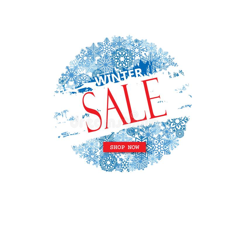 Bannière de vente d'achats d'hiver avec le lettrage Fond de neige HOL illustration libre de droits