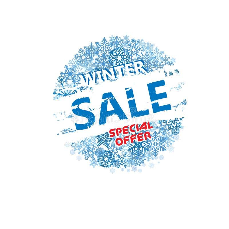 Bannière de vente d'achats d'hiver avec le lettrage Fond de neige HOL illustration de vecteur