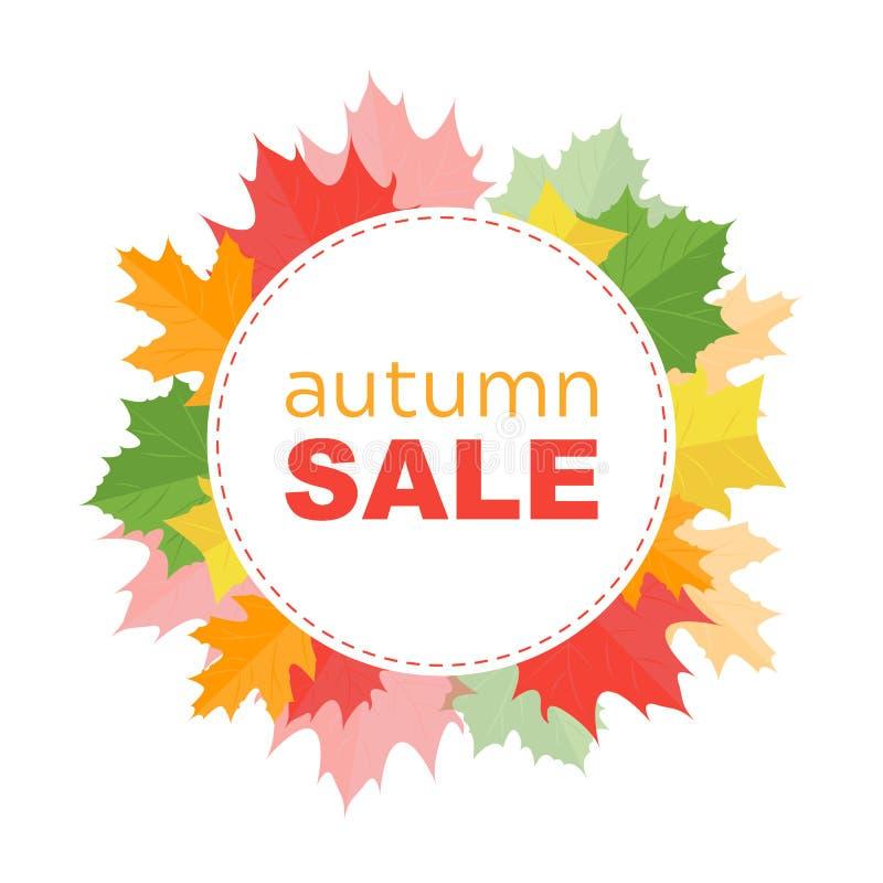 Bannière de vente d'automne avec des feuilles d'automne illustration libre de droits
