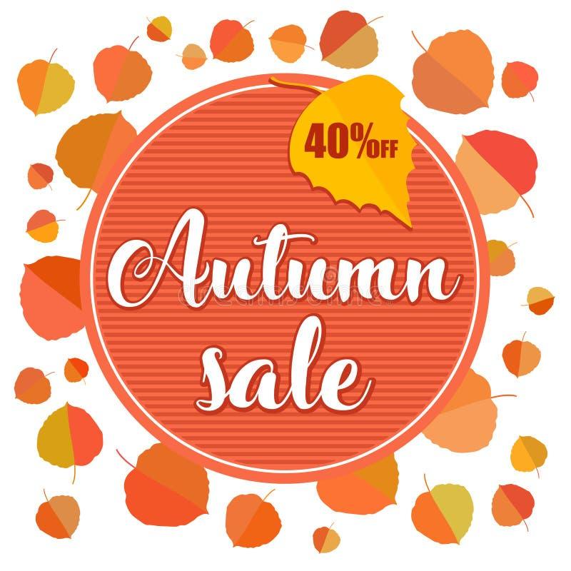 Bannière de vente d'automne avec des feuilles d'automne sur le fond blanc illustration de vecteur