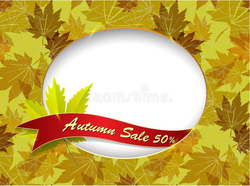 Bannière de vente d'automne dans le cadre des feuilles d'automne illustration de vecteur