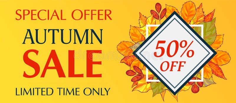 Bannière de vente d'automne de temps limité seulement horizontale, style de bande dessinée illustration de vecteur