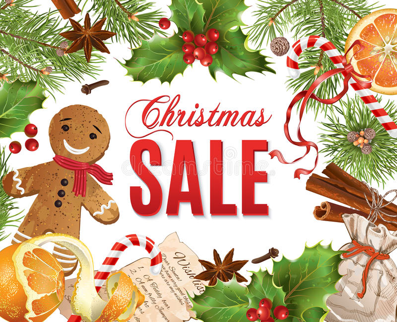 Bannière de vente de Noël illustration libre de droits