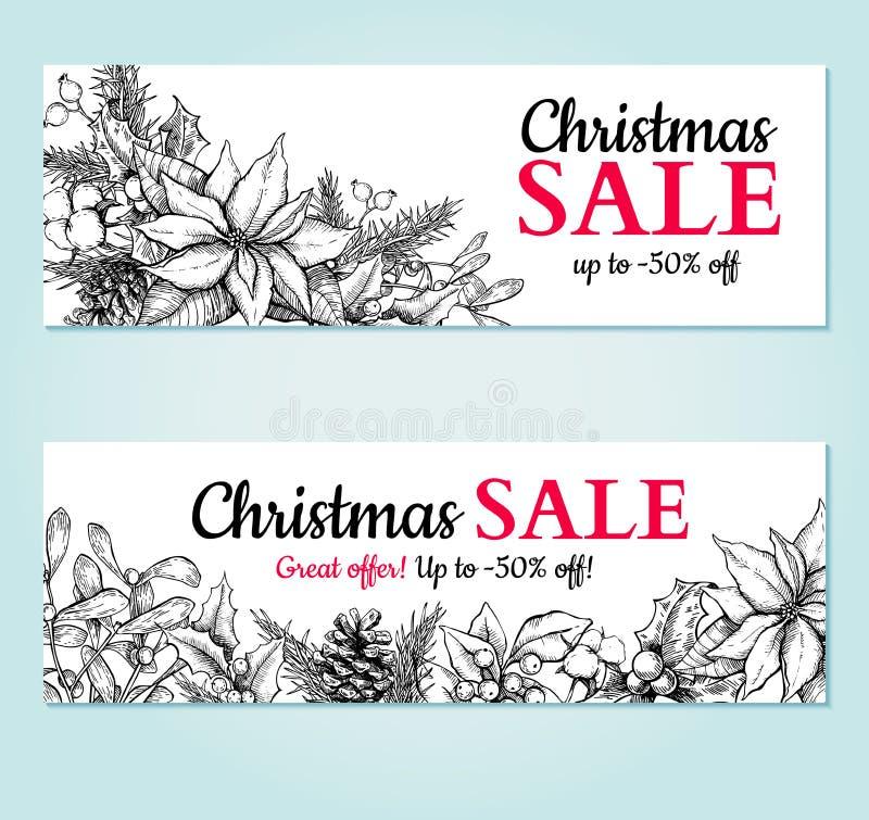 Bannière de vente de Noël Illustration tirée par la main de vecteur Usines et symboles de Noël illustration stock