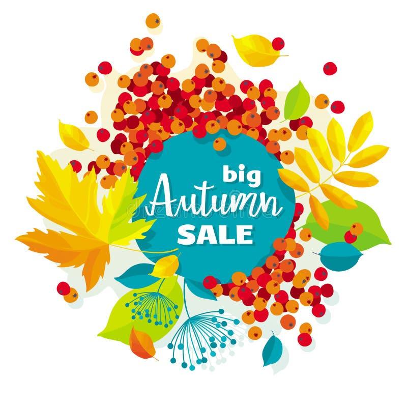 Bannière de vente de vecteur de feuilles d'automne illustration de vecteur