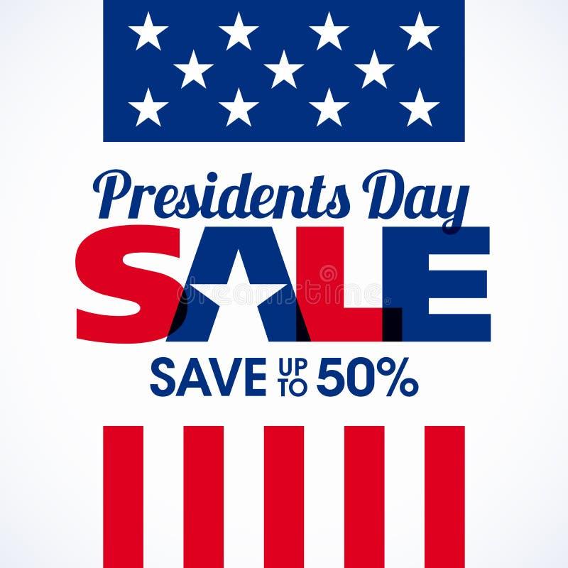 Bannière de vente des Présidents Day illustration stock