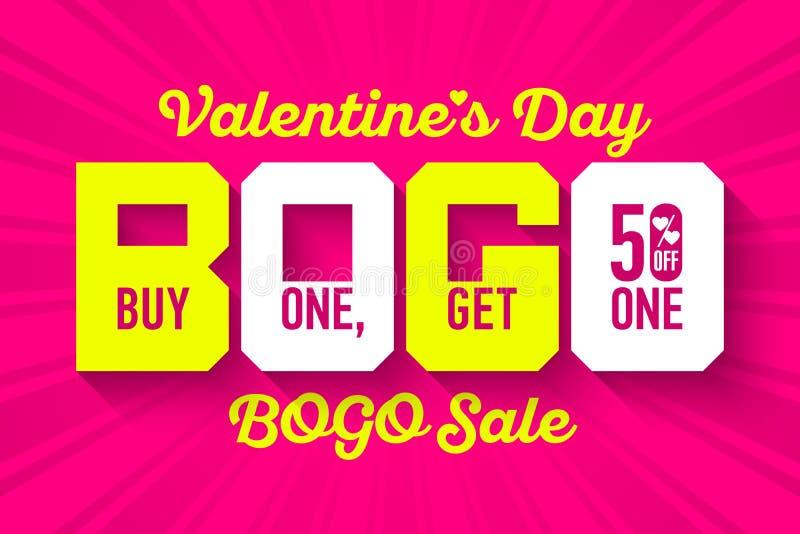 Bannière de vente du jour BOGO du ` s de Valentine illustration libre de droits