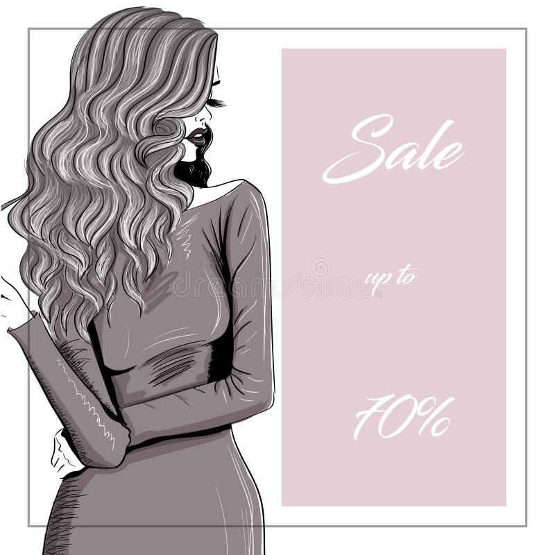 Bannière de vente de fille de cheveux de Lomg illustration stock