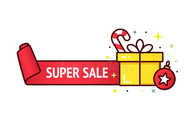 Bannière de vente de Noël illustration stock