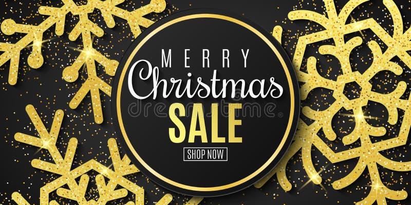 Bannière de vente de Noël Flocons de neige des scintillements d'or sur un fond noir an neuf heureux de Noël joyeux Vecteur illustration de vecteur