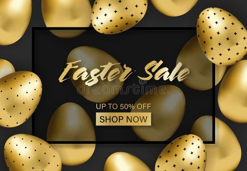 Bannière de vente de Pâques avec les oeufs modelés d'or illustration libre de droits