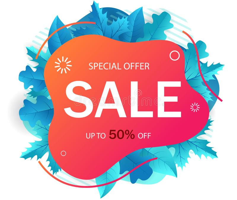 Bannière de vente pour le site Web Fond géométrique d'abrégé sur vente d'automne Matériel promotionnel de vente avec la forme liq illustration libre de droits