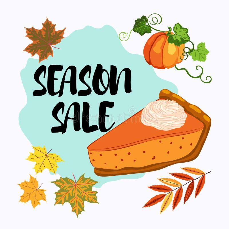 Bannière de vente de saison avec des feuilles de tarte et de chute de potiron illustration de vecteur