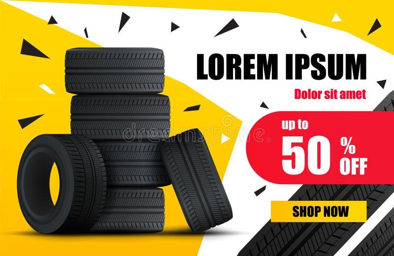 Bannière de vente de voiture de pneu Affiche de vente de roues et de pneus de voiture Vecteur illustration de vecteur