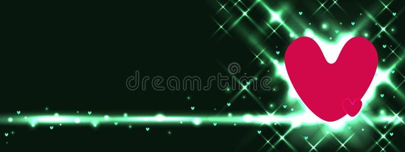 Bannière de vert de coccinelle d'amour illustration de vecteur