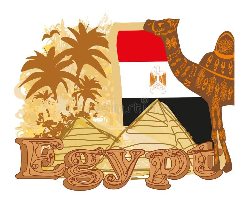 Bannière de vintage avec les pyramides Gizeh, le drapeau et le chameau illustration de vecteur