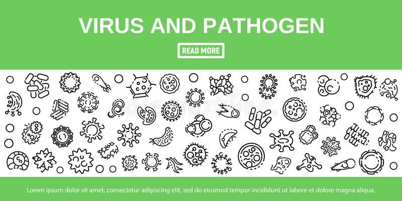 Bannière de virus et d'agent pathogène, style d'ensemble illustration libre de droits
