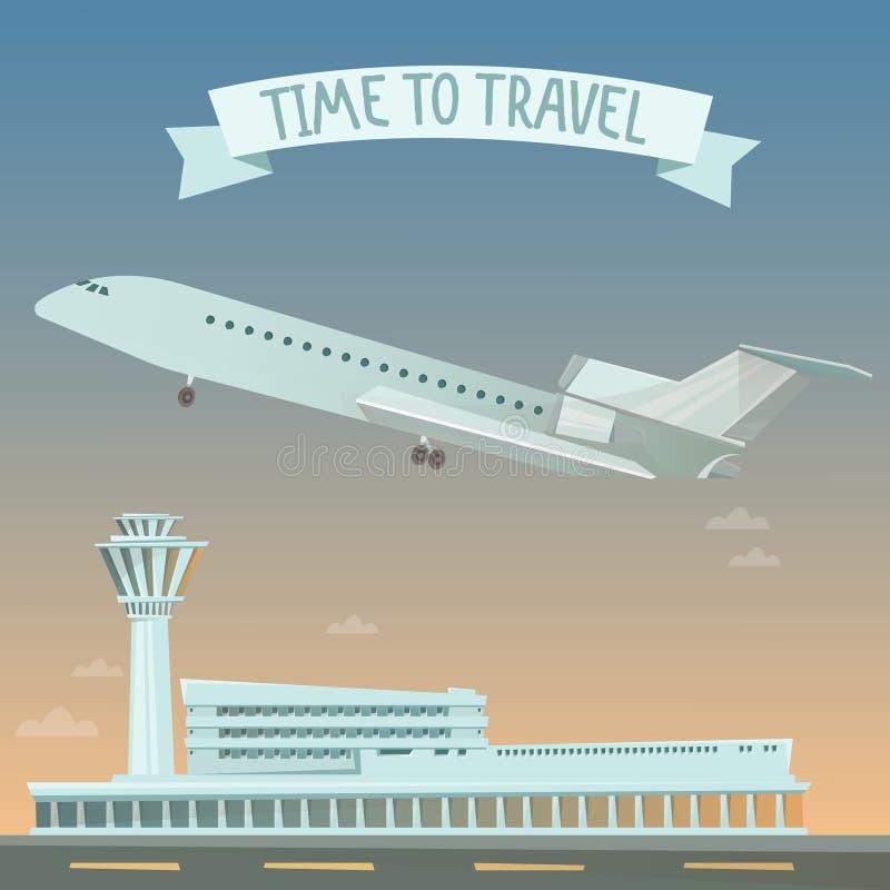 Bannière de voyage Voyage en l'avion Heure de se déplacer illustration de vecteur