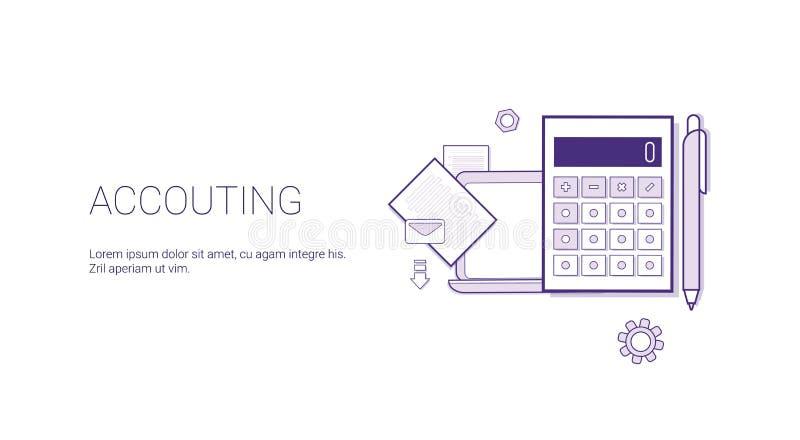 Bannière de Web de comptabilité avec le concept de gestion de finances d'affaires de l'espace de copie illustration stock