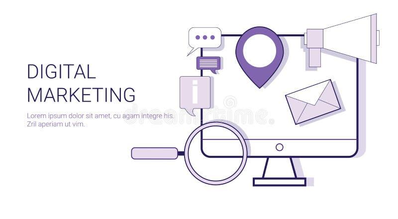 Bannière de Web de concept de stratégie d'entreprise constituée en société de vente de Digital avec l'espace de copie illustration stock