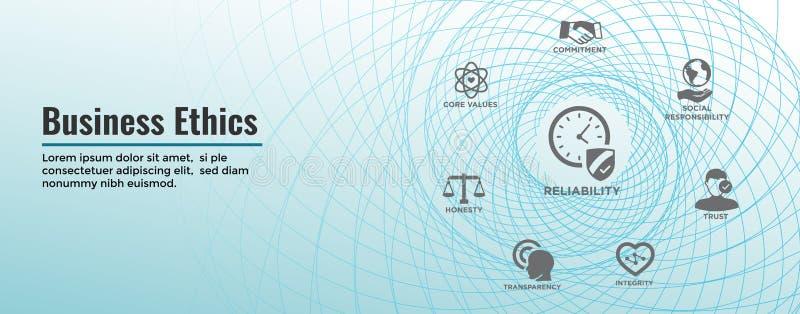 Bannière de Web d'éthique d'affaires et ensemble d'icône avec l'honnêteté, l'intégrité, l'engagement, et la décision illustration de vecteur