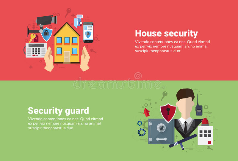 Bannière de Web d'assurance de Home Security Protection de garde illustration libre de droits