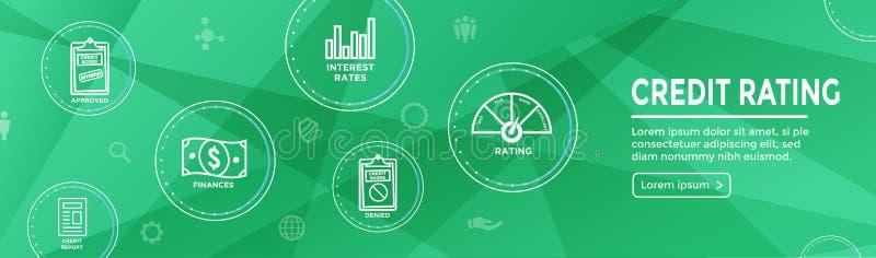 Bannière de Web d'en-tête de réputation de solvabilité avec la dette, la carte de crédit, et le crédit illustration stock