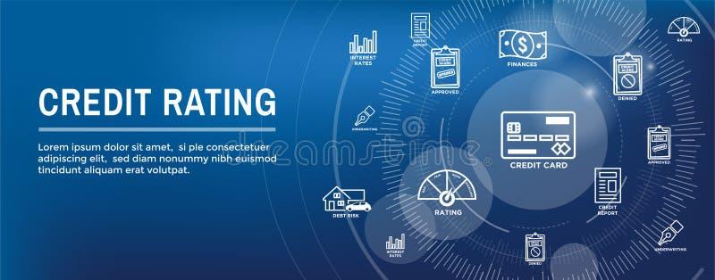 Bannière de Web d'en-tête de réputation de solvabilité avec la dette, la carte de crédit, et le crédit illustration de vecteur