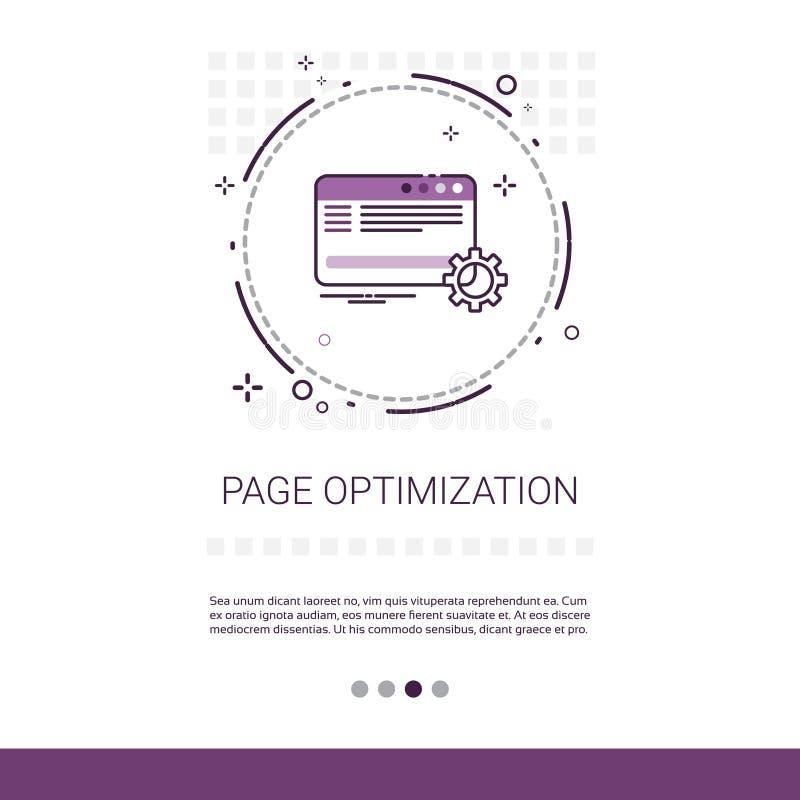 Bannière de Web de gestion de contenu d'optimisation de page avec l'espace de copie illustration stock