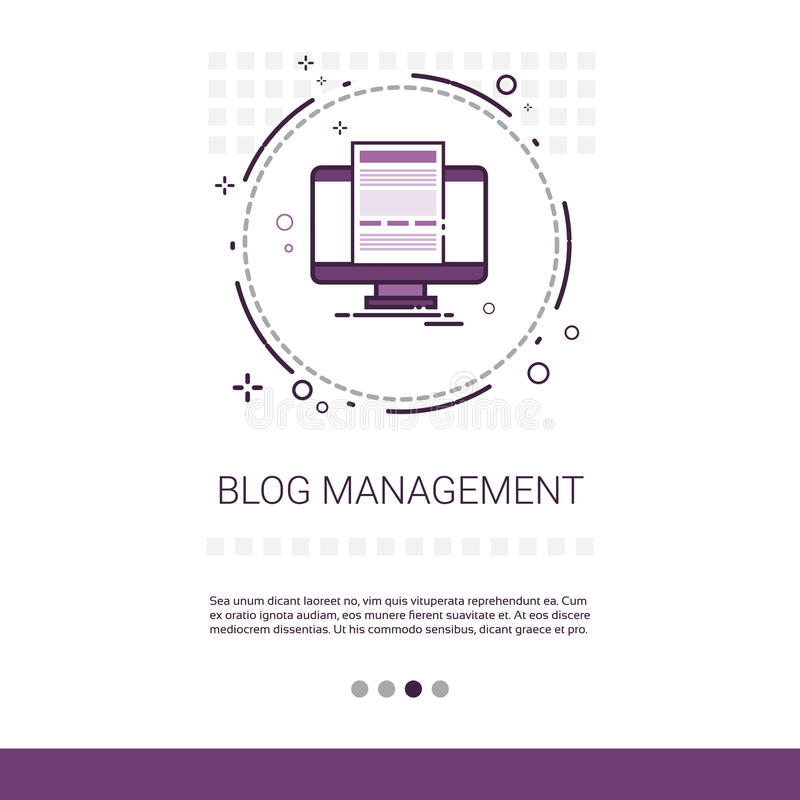 Bannière de Web de technologie de l'information du contenu numérique d'affaires de gestion de blog avec l'espace de copie illustration libre de droits