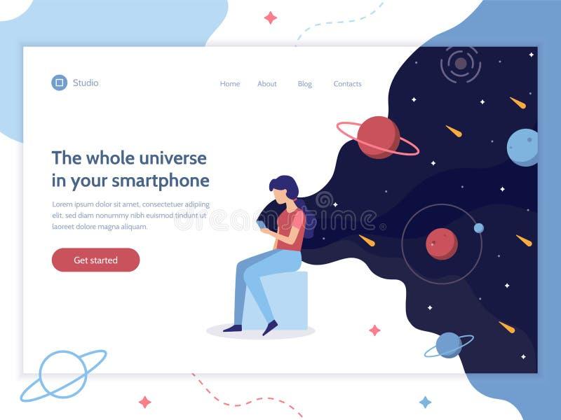 Bannière de Web de dispositif de l'espace illustration stock