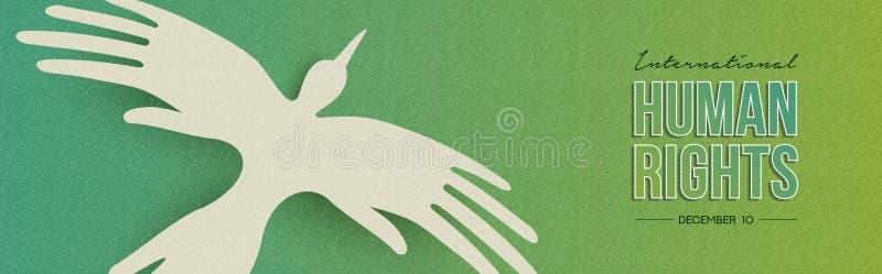 Bannière de Web de droits de l'homme d'oiseau de main de personnes illustration libre de droits
