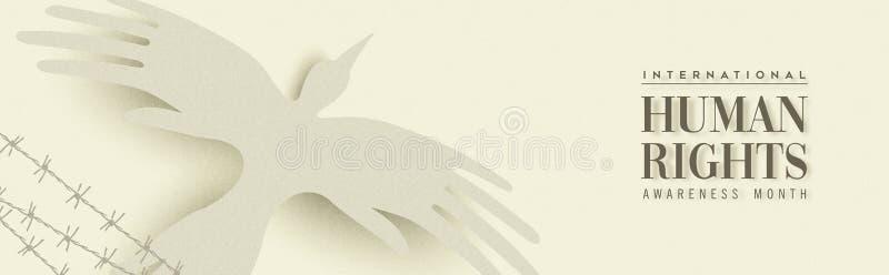 Bannière de Web de droits de l'homme d'oiseau de main de personnes illustration de vecteur