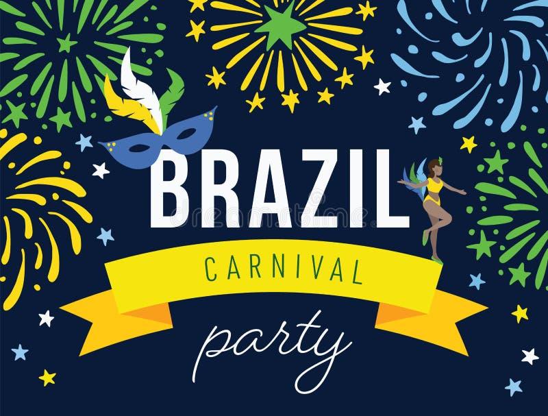 Bannière de Web de partie de carnaval du Brésil, invitation avec des feux d'artifice Danseuse et masque tirés par la main de femm illustration de vecteur