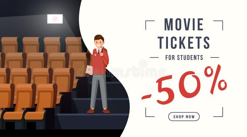 Bannière de Web de remise de billets de film remise de 50 pour cent pour des étudiants, prix spécial Invitation de cinéma pour de illustration libre de droits
