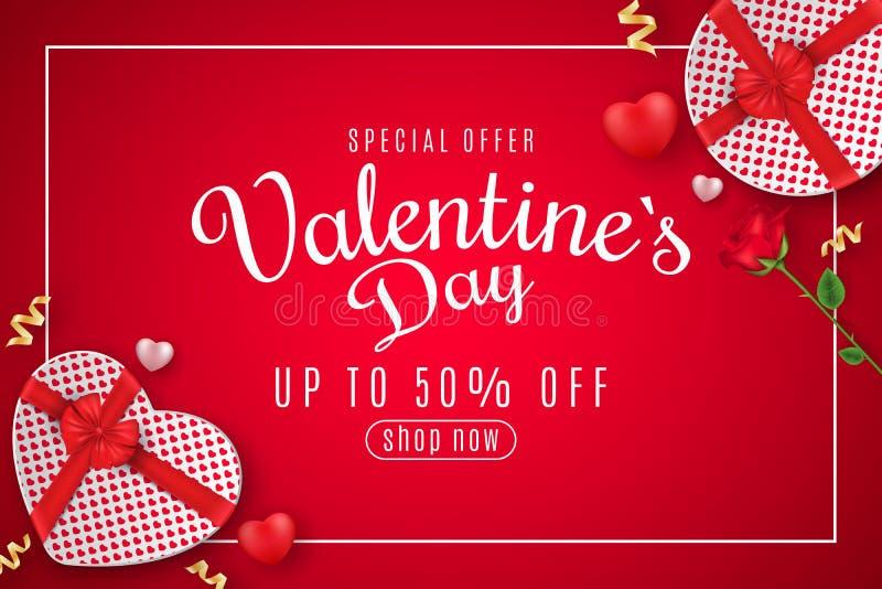 Bannière de Web de Saint-Valentin à vendre Vue supérieure Composition romantique avec le boîte-cadeau du coeur et de la fleur ros illustration stock