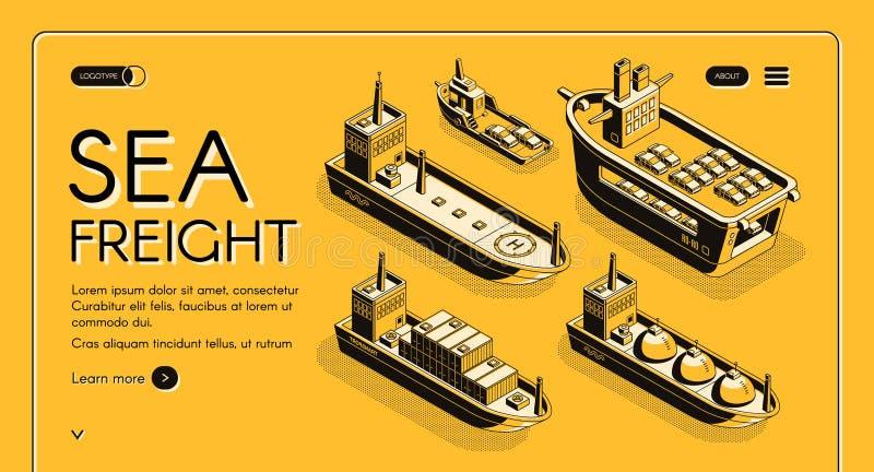 Bannière de Web de vecteur d'entreprise de transport de fret maritime illustration libre de droits