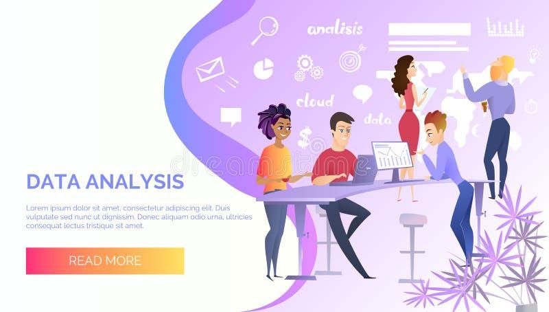 Bannière de Web de vecteur de service en ligne d'analyse de données illustration libre de droits