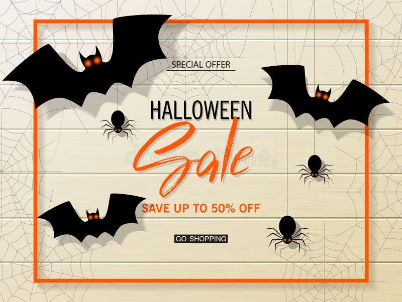 Bannière de Web de vecteur de vente de Halloween avec des battes sur le fond en bois Offre saisonnière spéciale Illustration de v illustration stock