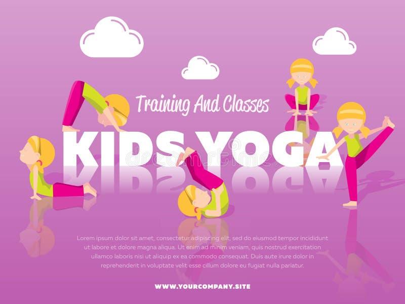 Bannière de yoga d'enfants de formation et de classes illustration stock