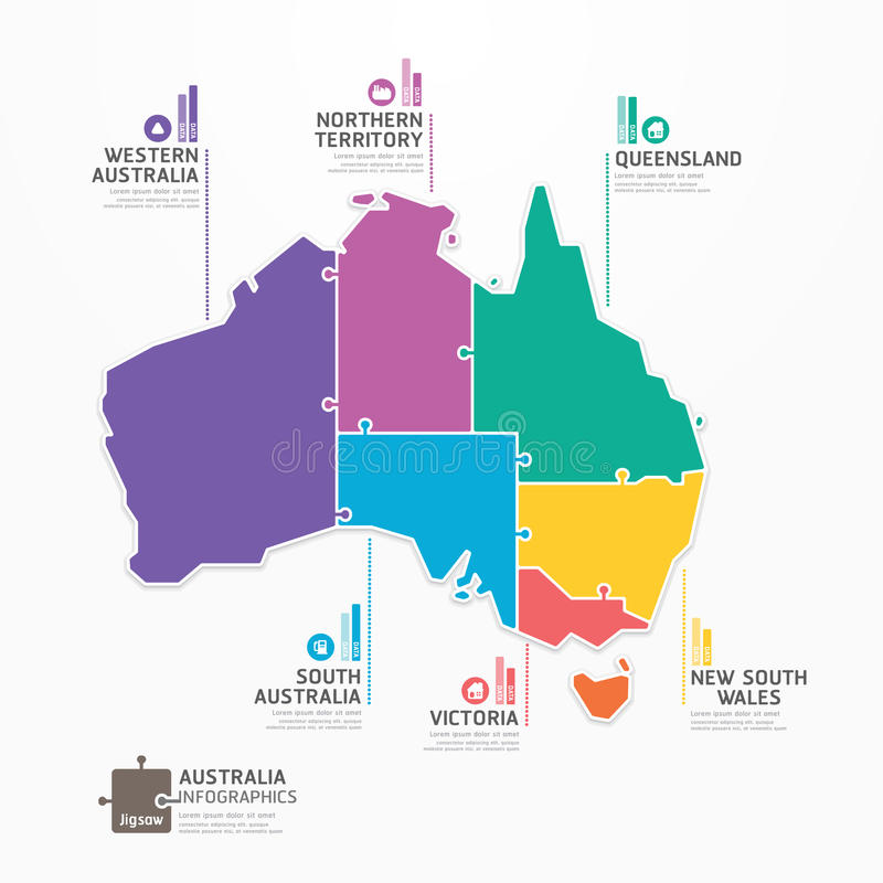 Bannière denteuse de concept de calibre d'Infographic de carte d'Australie. vecteur illustration de vecteur