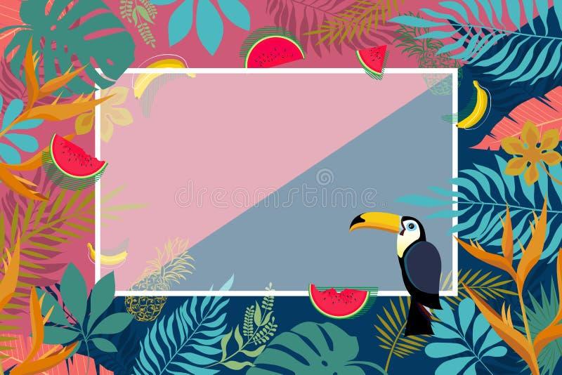 Bannière des palmettes tropicales images stock