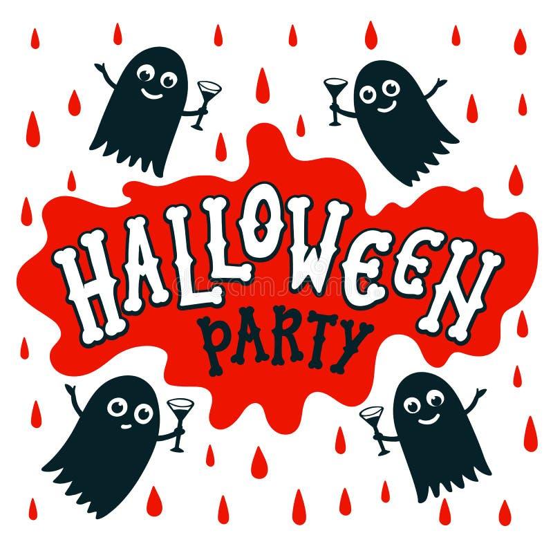 Bannière des textes de partie de Halloween lettres manuscrites des os sur la tache de sang Inscription heureuse de Halloween sur  illustration de vecteur