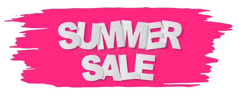 Bannière des textes de vente d'été sur le fond grunge rose Illustration de vecteur illustration de vecteur