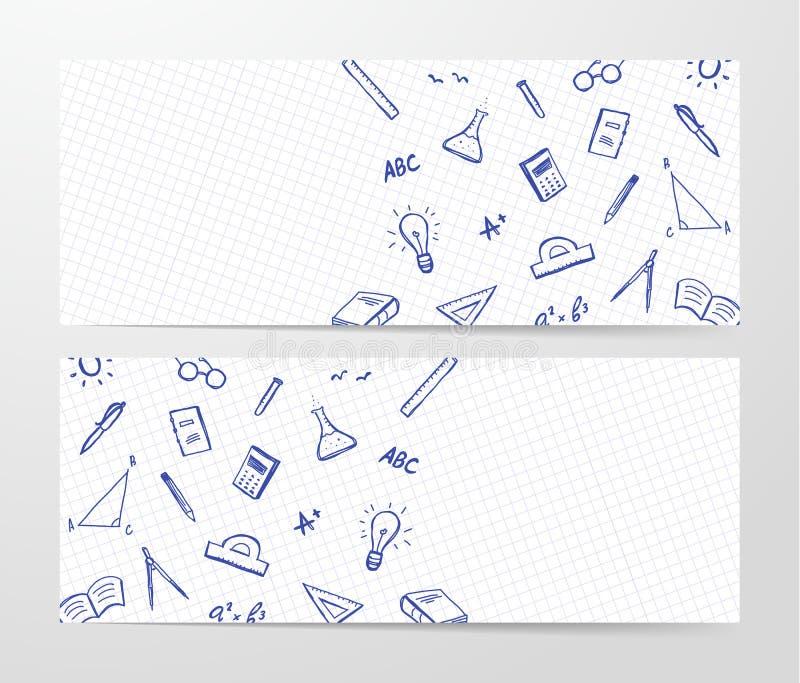Bannière deux avec l'ensemble tiré par la main d'approvisionnements de doddles sur la feuille de fond de livre d'exercice illustration de vecteur